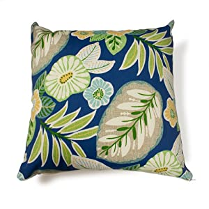 Pair Of Decorative Outdoor Throw Pillow - 18 X 18 Blue Tropical Floral by TK Classics