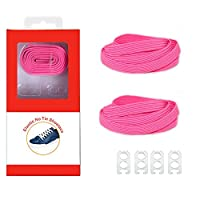 DB Elastic No Tie Shoelaces for Kids and Adults - Pink Wide Athletic Shoelaces - Running Shoelaces for Sneakers and Casual Shoes ...