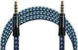 Parallel Universe Nylon Fibre Tangle Free 3.5mm AUX Cable [5 Feet Extra Long] - Blue
