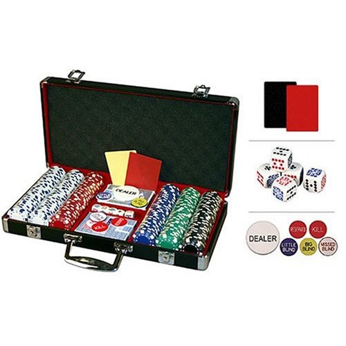 Premium 300 Diamond Suited Poker Chip Set w/black aluminum case, 6 dealer buttons, 2 Cut Cards, 5 dice and 2 playing card decks