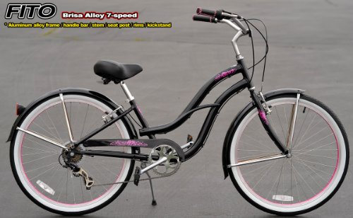 Aluminum Frame! Fito Brisa Alloy 7-speed Women - Black/Pink, 26