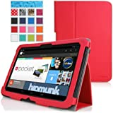 MoKo Slim Folding Cover Case for Google Nexus 10 Android Tablet by Samsung, RED (with Flip Stand, Integrated Elastic Hand Strap, and Stylus Loop)