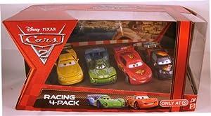 Disney / Pixar CARS 2 Movie Exclusive Die Cast Car Racing 4Pack Lightning McQueen with Racing Wheels, Max Schnell, Jeff Gorvette Carla Veloso