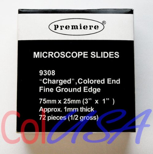 Scientific High Quality Microscope Slides: Premiere Charged, White End And Fine Ground Edge. One Box Of 72 Slides.