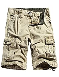 WenVen Men\'s Active Cargo Shorts Cotton Outdoor Wear Lightweight (WV3229 Light Khaki,34)