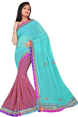 Kala Sanskruti Chiffon And Art Silk Bandhej Design Saree With Work - B00L18QR98