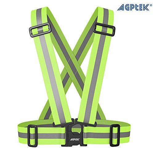 AGPtek-Arns-Chaleco-Reflectante-para-Moto-de-Alta-visibilidad-para-Aumentar-la-Seguridad-por-DaNoche-para-Moto-Bicicleta-Correr-Hacer-Deportes-en-Exterior-Ajustable-para-Todos-los-Tamaos-Ligero-y-Impe