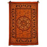 Home Décor orange Tapisserie Mandala Imprimer Table Cloth Lit individuel art de feuille de mur Inde 78 X 52 Pouces...
