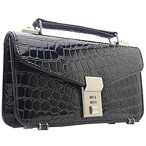 ビジネスシーンを快適!エナメルクロコ型押しミニセカンドバッグ [GIORGIO VALENTI 0322 ] 誕生日プレゼント バッグ メンズ