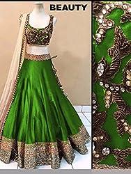 Khazanakart women Green cotton bollywood style designer lehenga