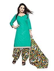 Krisha Print Women Unstitched Patiala Dress Material (Green_Free Size)