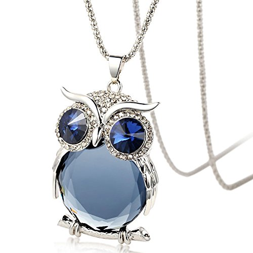 """The Night Guardians Long Sweater Chain Owl Shape Austrian Crystal Pendant Necklace for Woman """"31"""""""