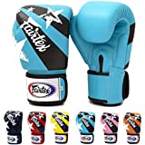Fairtex Muay Thai Boxing Gloves BGV1 Limited Edition Nation Print - Red Blue Pink Yellow Marina Blue Orange Size : 10 12 14 16 oz. Training & Sparring Gloves for Kick Boxing MMA K1