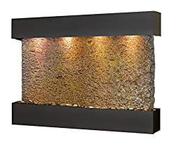 Sunrise Springs Water Feature with Blackened Copper Trim and Square Edges (Natural Multi-color Slate)