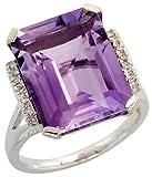 "14k White Gold Large Stone Ring, w/ 0.10 Carat Brilliant Cut Diamonds & 11.43 Carats 16x12mm Emerald Cut Amethyst Stone, 5/8"" (16mm) wide"