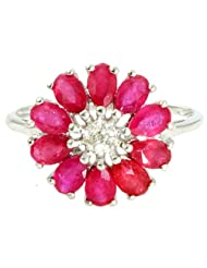 RUBY 3.05 CARAT GEMSTONE DIAMOND FLORAL RING IN 925 STERLING SILVER