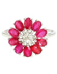 Djoyer Ethiopian Opal Gemstone Diamond Floral Ring For Women