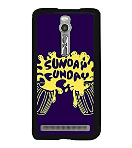 Fuson Premium 2D Back Case Cover Sunday Funday With red Background Degined For Asus Zenfone 2::Asus Znfone 2 ZE550ML