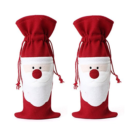 Bright Red Santa Claus Wine Bottle Covers (Set of 2)