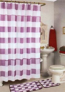 4pcs Bath Rug Set Lilac Checker Bathroom Rug Shower Curtain Mat / Rings