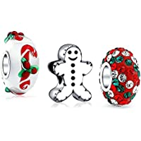 Bling Jewelry 925 Sterling Silver Christmas Charms Bead Set Fits Pandora