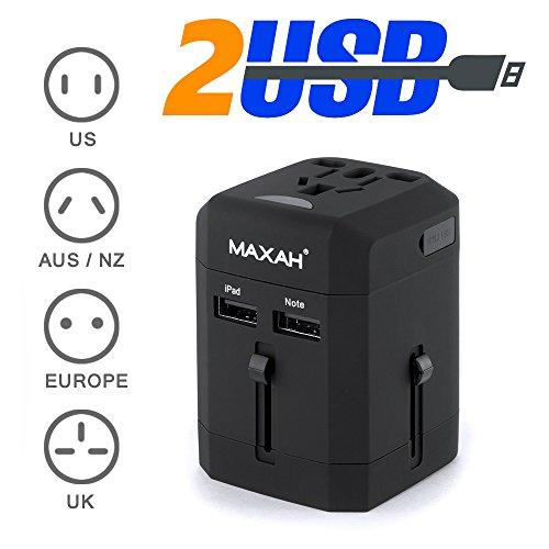 MAXAH® Adattatore Universale da Viaggio /Tutto in uno adattatore /All-in-One Universal World Wide/Travel Adapter con indicatori accensione e 2 USB --- 2.5 A (Nero)