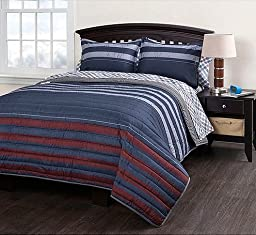 Rugby Striped Full Quilt Coverlet, Sheets, Shams & Home Style Exclusive Sleep Mask (8 Pc Bedding Bundle) Navy Gray