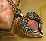 Domire Retro Bronze Chain Red Heart Vintage Palace Pendant Angel Wings