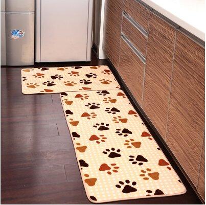 Ustide 2 Piece Foot Print Kitchen Rug Set Kitchen Memory Foam Rug Soft Rug Coral Fleece Bathroom