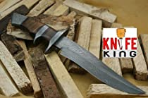 Knife King Custom Damascus Handmade Hunting Knife. With Leather Sheath. Top Quality