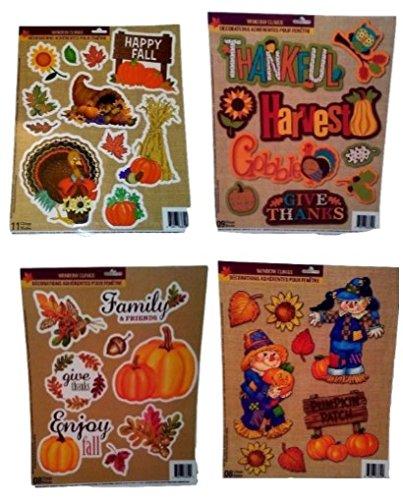 Set Of 4 Autumn Fall Thanksgiving Harvest Pumpkin Leaves Decorations