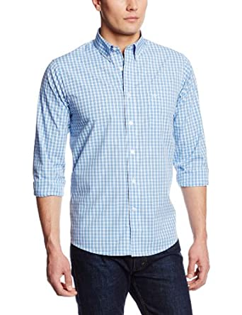 Dockers Men's Framed Gingham Long Sleeve Woven, Meridian Blue, Small