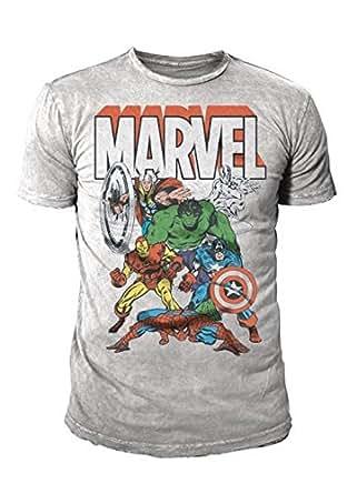 Marvel Comic - Marvel Retro Herren T-Shirt All Stars (Thor Hulk Iron Man Captain Amerika) (S-XL) (S)