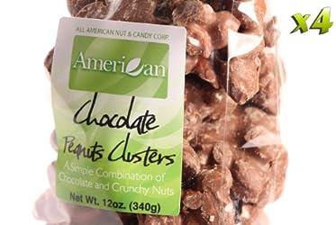 (Four) 12oz Gourmet Style Bags of Crunchy Milk Chocolate Peanut Clusters [48oz. / 3 lbs.]