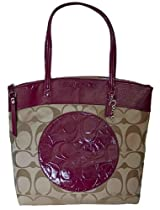 Hot Sale Coach Laura Signature Tote Handbag Purse 18335 Berry Patent Leather