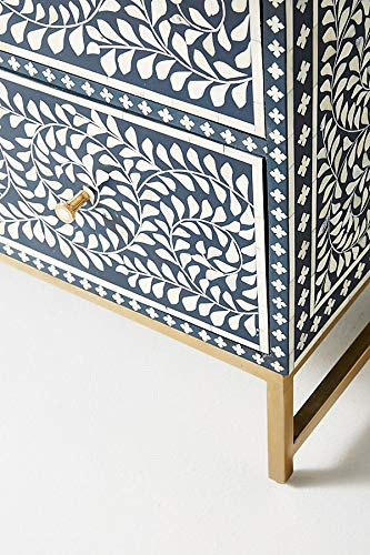 Handicraft Scroll Wine Design Bone Inlay 3 Drawers Chest in Blue With Metal Base