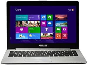 Asus VivoBook S400CA 14-inch Touchscreen Laptop - Silver (Intel Core i5 3317U 1.7GHz, 4GB RAM, 500GB HDD, LAN, WLAN, Webcam, BT, Integrated Graphics, Windows 8)