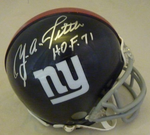"YA Tittle Autographed New York Giants Mini Helmet w/""HOF 71"" at Amazon.com"