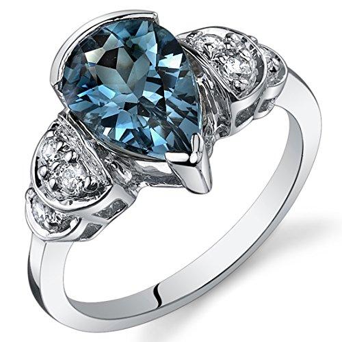 London Blue Topaz Tear Drop Ring Sterling Silver 2.00 Carats Size 7