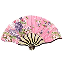 Folding Fan - Two Tone Red Colored Wood - Silky Satin Floral Fabric - French Pink