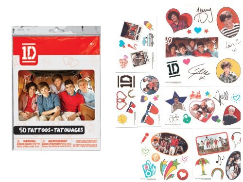 1D ONE DIRECTION Removable TEMPORARY Non-Toxic TATTOOS (25 Count)