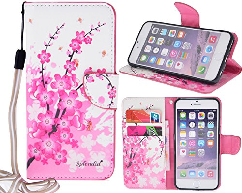"Splendid(TM), iPhone 6/6s plus wallet case fancy pink cherry blossom flower pattern slim flip wallet stand pouch PU leather colorful flower case with strap credit card money holder slots colorful wallet case cover for iPhone 6/6s plus 5.5"" (Cherry Blo..."