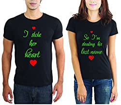 LaCrafters Couple tshirt - New Heart Stealing Couples Tshirt_Black_XL - Set of 2