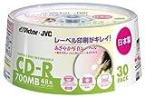 """Victor データ用CD-R """"あざやか写真レーベル"""" 700MB ホワイトプリンタブル 30枚 日本製"""