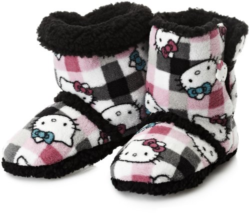 Hello Kitty Junior's Short Slipper Bootie, Check, Large