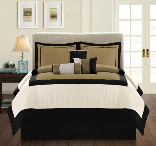 Modern Micro Suede 7-Piece Comforter Set, Cal (California) King, Chocolate, Brown/Beige front-211149