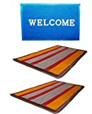 Online Quality Store Perfect Combo of 3 Door mats (1 for outdoor and 2 for indoor) (Multi, Cotton,16*24, Medium)