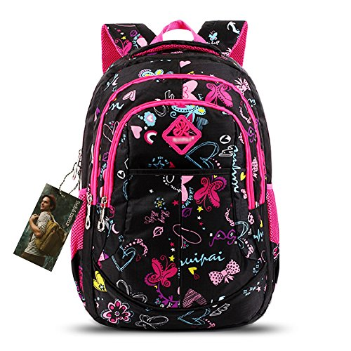 Bebamour-School-Bag-Backpack-for-Girls-Butterfly-and-Sweetheart-Pattern-Kids-Backpack