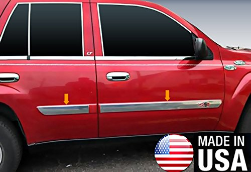 Made In USA! 2002-2006 Chevy Trailblazer Rocker Panel Chrome Stainless Steel Body Side Moulding Molding Trim Cover 3
