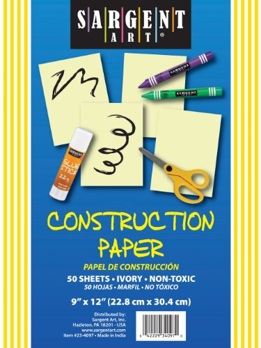 Sargent Art 23-4097 50-Count Ivory Construction Paper - 1